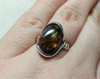 Rare Gemstone Ring | Fire Agate Ring | Handmade Sterling Silver Ring Sz 8.5 | Mexican Fire Agate Ring | Fire Agate Jewelry | Gift For Her