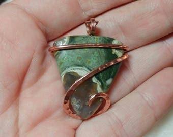 Rainforest Jasper Necklace | Rhyolite Pendant | Copper Pendant | Rustic Jasper Pendant | Stone Necklace | Copper Pendant for Men