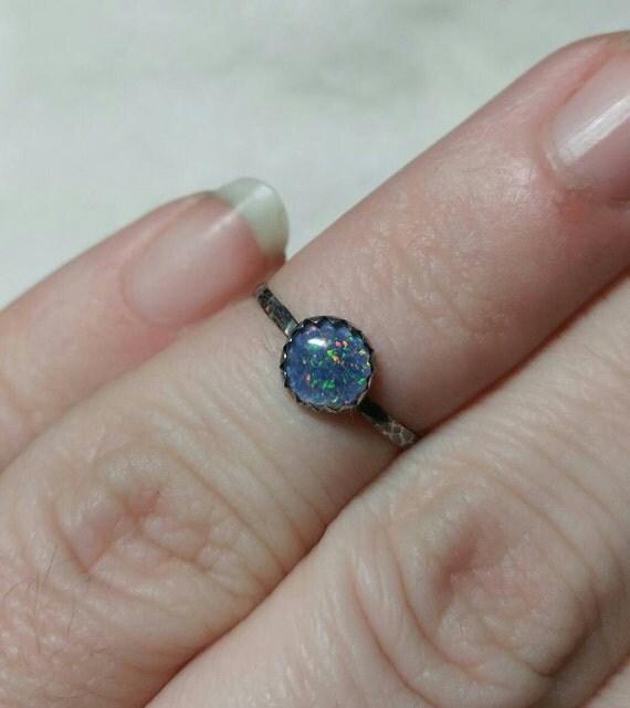 Tiny Opal Ring | Sterling Silver Ring Sz 5.75 | Opal Triplet Ring | Opal Jewelry | Opal Stacker Ring | Australian Opal Ring | Opal Midi Ring