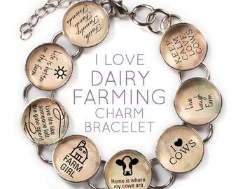 "I Love Dairy Farming - Cow Glass Charm Bracelet with Heart Charm, 6.75""-8.75"""