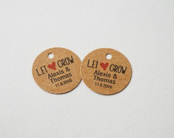 Let Love Grow Mini 1 inch Round Kraft Brown Small Label Tags - Custom Wedding Favor & Gift Tags