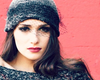 valentine's gift - veil beanie - beanie with veil - Valentine's gift -mature - trendy hats -veil hat - tuelle hat - 90s fashion