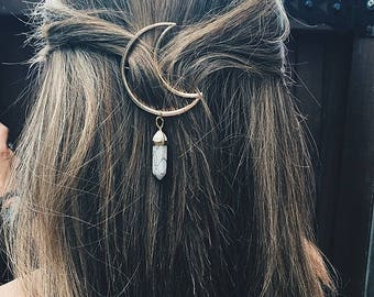 Silver Moon Hair Pin with Crystal