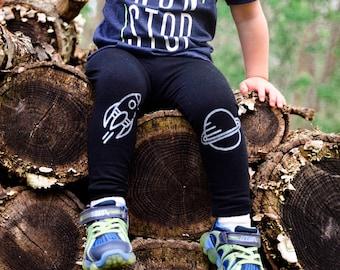 Rocket and Saturn Leggings Hand Painted Childrens Leggings Custom Toddler and Womens Leggings