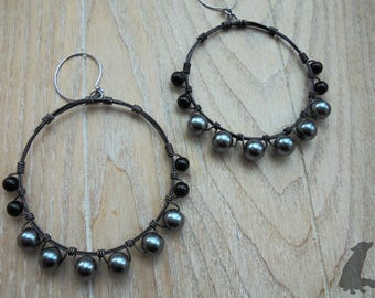 Witchy Black Pearl Hoop Earrings