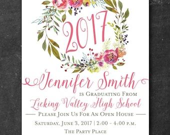 Graduation Open House Invitation - Graduation Announcement, Floral Wreath Invitation, Class of 2017, Printed Invite, Digital Invite