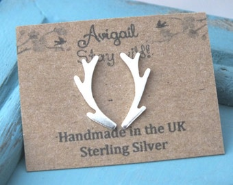 Sterling Silver Antler Studs, Hand Cut Antler Studs, Stag Earrings, Deer Studs, 925 Silver Studs, Woodland Jewellery