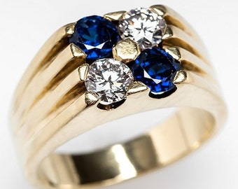 Mens Cartier Ring –Vintage Mens Diamond & Blue Sapphire 18K Gold Ring Wide Band - WM8626