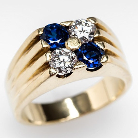 Mens Cartier Ring – Vintage Mens Diamond & Blue Sapphire 18K Gold Ring Wide Band - WM8626