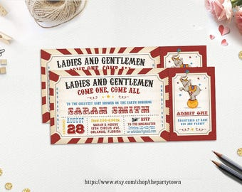 Vintage Circus Ticket Baby Shower Invitation, Carnival Circus Invite, Party Supplies, Decorations, Personalized Printable