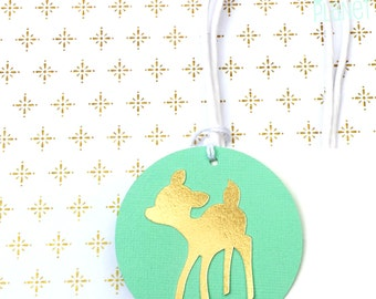 Gold and Mint Little Deer Gift Tags. Baby shower favor tags. Swing Tags. Woodland, oh deer, baby deer, baby shower, birthday party.