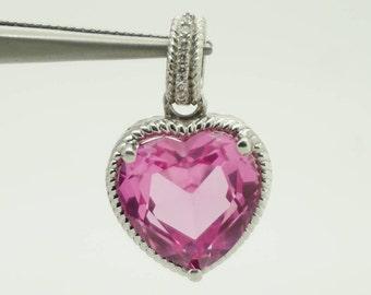 Solid AFJC Sterling Silver/925 Heart Pink Topaz w/0.03cttw Diamond Dangle Pendant; sku # 3529