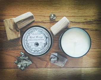 Khal Drogo Soy Candle   Tobacco & Vetiver   Game of Thrones   8 oz candle in black tin, geeky gift, masculine scent, spicy scent
