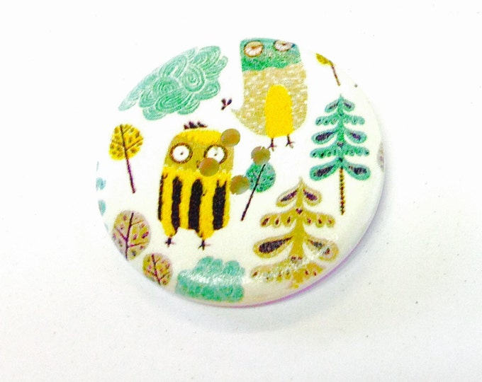 1 x 40mm Owls in the forest button