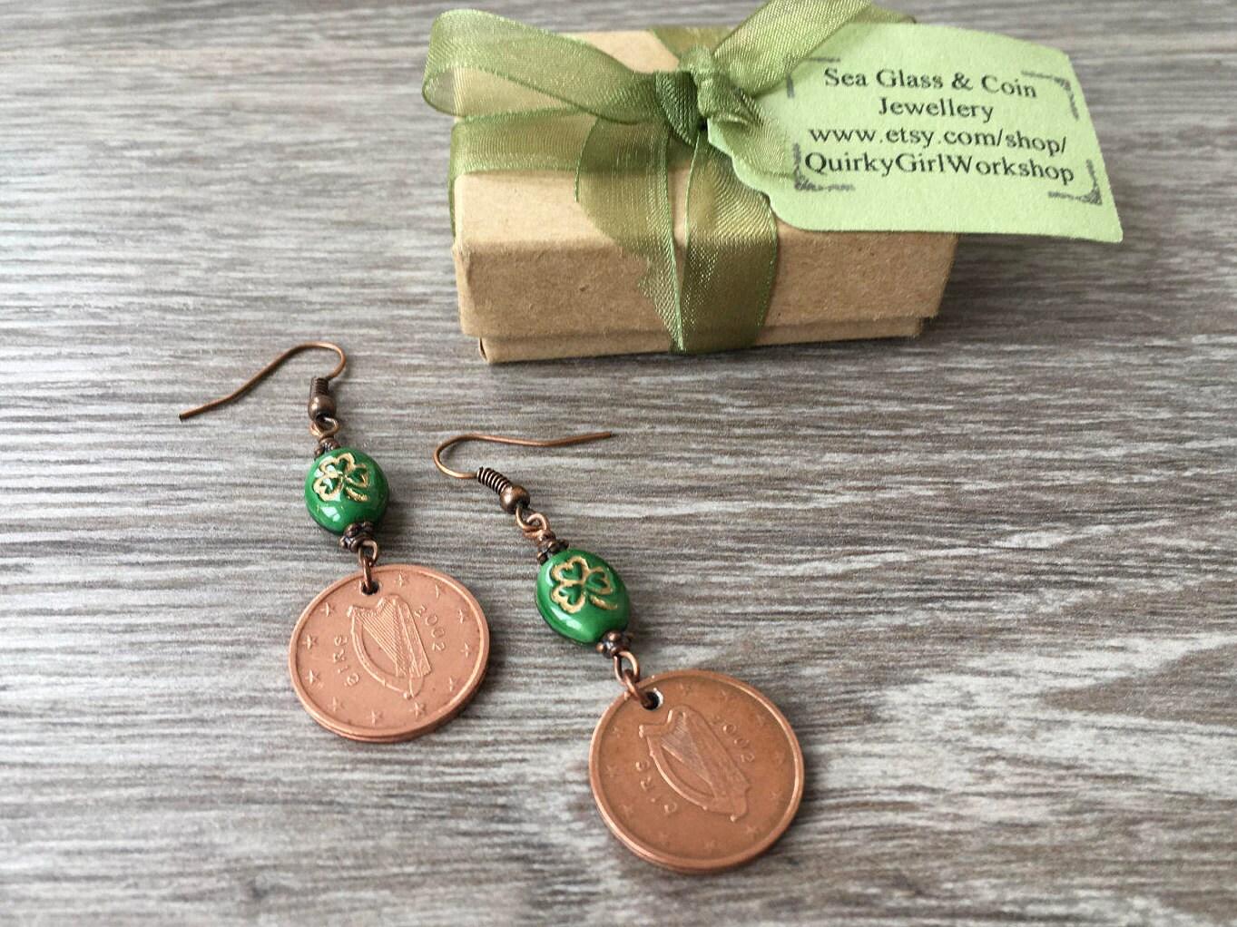 2002 Irish Coin Earrings Green Shamrock Jewelry 16th