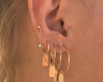Gold filled tag hoop earring with initial  - Gold hoop earrings - Personalized Earring