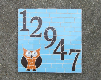 Mosaic house number, mosaic owl, made to order with variety of sizes, colours and themes available