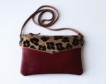 Small handbag, crossbody bag, leather bag, small handbag, real leather, removable shoulder strap, vegetable tanned leather, cotton lining