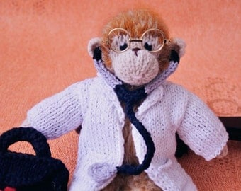 Plush monkey stuffed animal gift for child plush doll doctor gift stuffed monkey amigurumi mascot doll with doctor set ready to ship