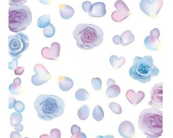 Pastel gradient roses nail decals/ Pastel floral nail stickers/ Nail art water decals/ Gradient heart nail decals/ Nail art/ Nailsart.ds219