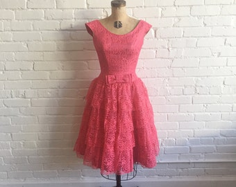 1950s Hot Pink Lace Party Dress // 50s Pink Lace Tulle Dress // Vintage 50s Pink Cupcake Dress
