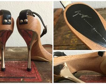Authentic Giuseppe Zanotti Vintage Chic Wooden Sandals Island Pumps Vegas Strap Platform Heels