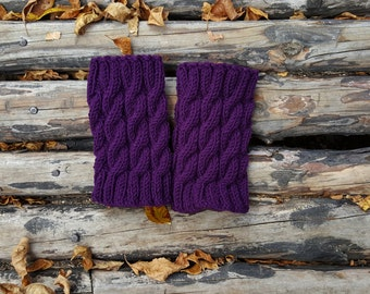 Hand Knitted Wool Boot Cuffs #6, Purple Boot Cuffs, Leg Warmers, Boot Toppers