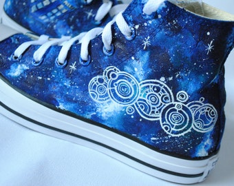 Hand  painted shoes Tardis galaxy, Gallifreyan language, Doctor Who Fanart shoes, custom snekers