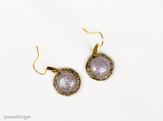 Earrings- White Golden Color Classic Dangle Earrings Made from Old Buttons by GunaDesign