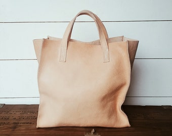 Leather Market Bag - Nat Veg Tanned Leather - Leather Goods