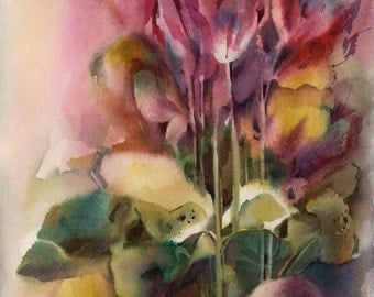 Original Watercolor Painting, Cyclamens, Abstract Floral Painting, Pink vibrant watercolour art