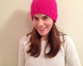 Bright pink pussy hat 100% wool chunky soft warm cat hat