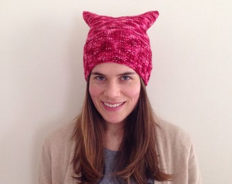 READY TO SHIP Marled red and pink pussy hat 100% Merino wool hand knit soft and warm