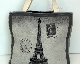 Large Tote bag Beach Yoga Holiday Shoulder Bag Book Bag Reusable Shopper Market Grocery Bag Cotton Fabric Large Vintage Paris Eiffel Motif