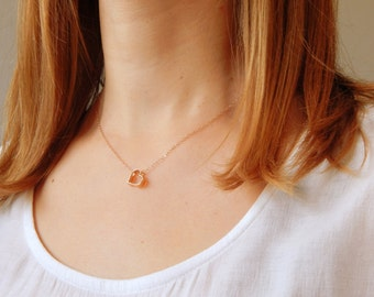 Minimalist gold heart necklace, dainty heart necklace, love necklace, heath charm, lovers gift, gift for her, I love you necklace, 275