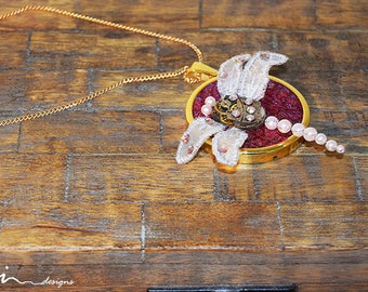 OOAK pink dragonfly steampunk necklace