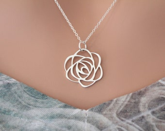 Sterling Silver Rose Pendant Necklace, Silver Rose Necklace, Openwork Rose Charm Necklace, Rose Necklace, Art Deco Rose Charm Necklace