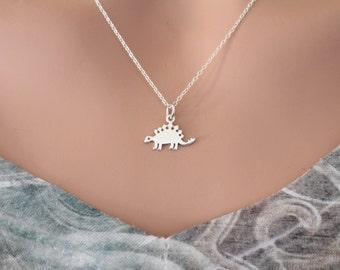 Sterling Silver Stegosaurus Dinosaur Charm Necklace, Dinosaur Charm Necklace, Dinosaur Necklace, Stegosaurus Dino Necklace, Dino Necklace