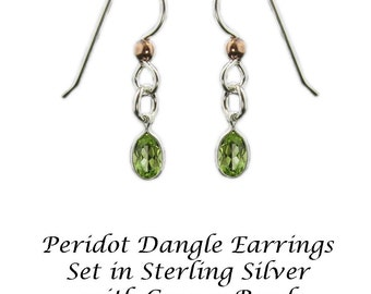Peridot Earrings, Peridot Dangle Earrings, Peridot Drop Earrings, Peridot Silver Earrings in 6x9mm Sterling Silver Ear Wires 925