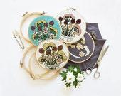 FEBRUARY FLOWERS PATTERN - Pdf Embroidery Pattern - Modern Floral Embroidery Pattern by Sarah K Benning - #skbdiy - Wildflower Pattern