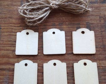 Small Wooden Tags w/scalloped edge and jute for hanging. Package of 6. Rectangle tags. Wood Tags. Hang Tags. Unfinished Wood Tags.