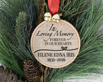 In Loving Memory at Christmas, Forever in our hearts Christmas Ornament, Ornament, Rustic Christmas Decorations, Christmas Ornament