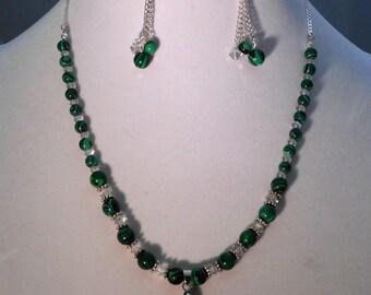 Malachite & Crystal Necklace, Earring, Bracelet Set