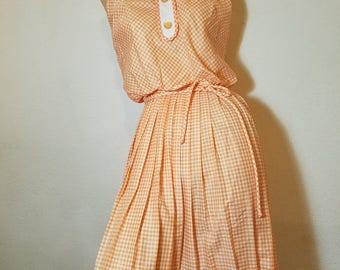 FREE  SHIPPING   1950  cotton  Gingham  Dress