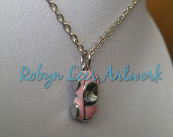 Very Small 3D Pale Pink Convertible Car Charm Necklace on Silver Crossed Chain or Black Faux Suede Cord