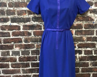 50s/60s Wiggle Dress. Royal Blue Jonathan Logan Late 1950s /Early 1960s Wool Pencil Dress. Felted Dress w/ Bow & Ribbon. Size Small.