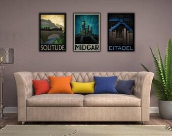 Fantasy RPG Framed Print Set: Elder Scrolls, Final Fantasy, Mass Effect - 3 for 2 Framed Fictional Travel Prints wall art