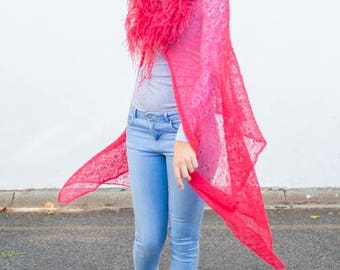 Red Knitwear Lace Cape with Ostrich Feather Necktrim