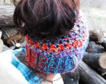 The Messy Pony Tail Hat; Crochet Pattern Only; PDF