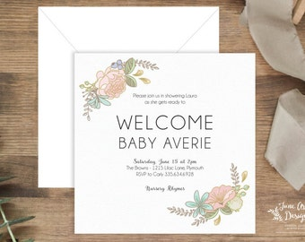 """Pastel Baby Shower Invitation 